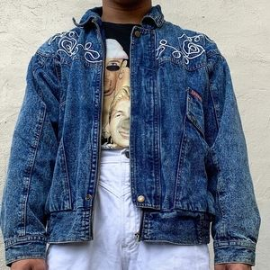 Vintage 80's style Acid Wash Jean Jacket